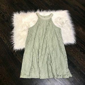 Altard State Lace Mock Neck Halter Swing Dress